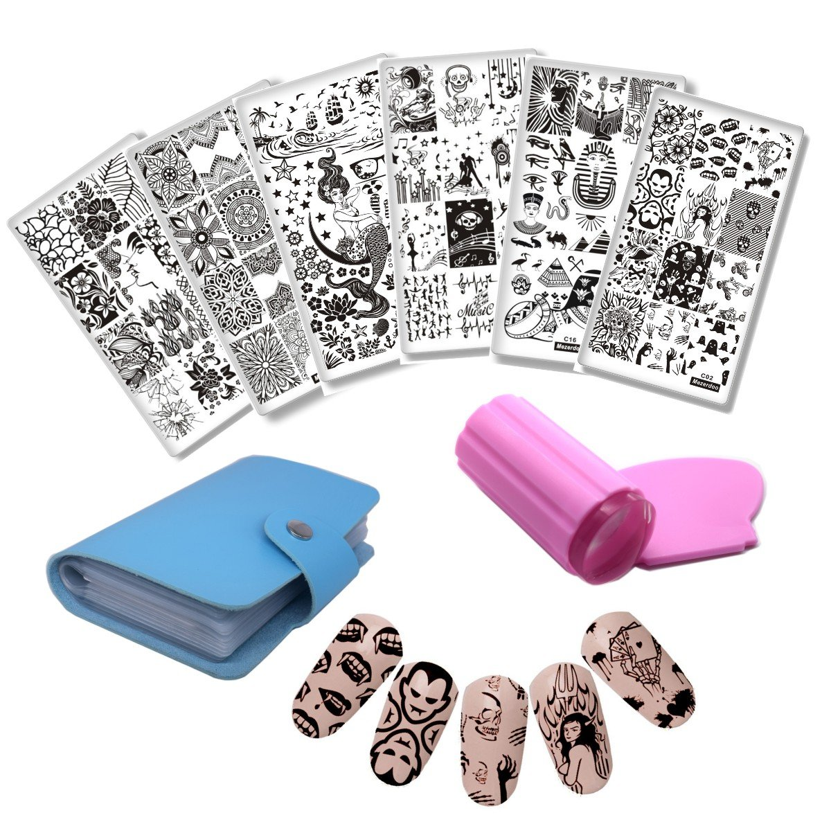 Mezerdoo 6pcs Vampire Nail Stamping Plates Skull Flower Leaf Image Stencil Nail Art Manicure Template Nail Stamp Tool with 1Pcs Stamper Kit + 1pcs Templates Bag Holder