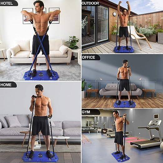 FITINDEX Gimnasio portátil de uso doméstico,Set de entrenamiento de resistencia,Cintas de ejercicio Set de barras de ejercicio Kit de entrenamiento ...