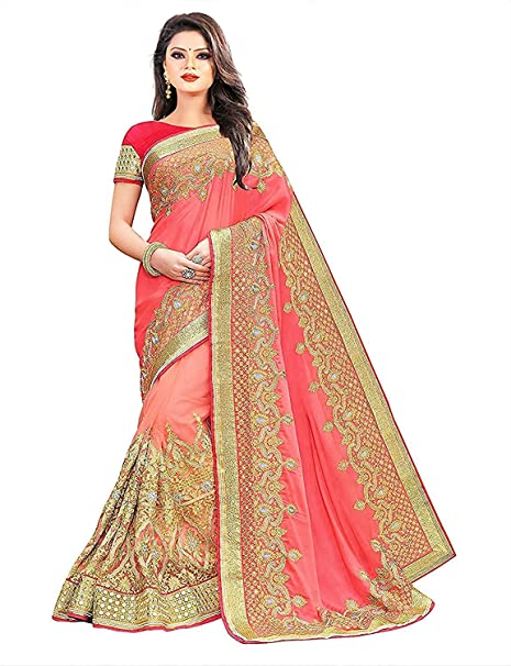 2185cc4534e846 Arohi Designer Women s Silk and Georgette Embroidered Saree with Blouse  Piece (Pink