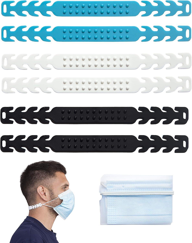 Anfipo- 6 piezas salvaorejas- Antideslizante- GRATIS una funda para mascarilla desechable- Ideal para trabajar o hacer deporte- Protector de oídos- Alivia el dolor y roce en las orejas