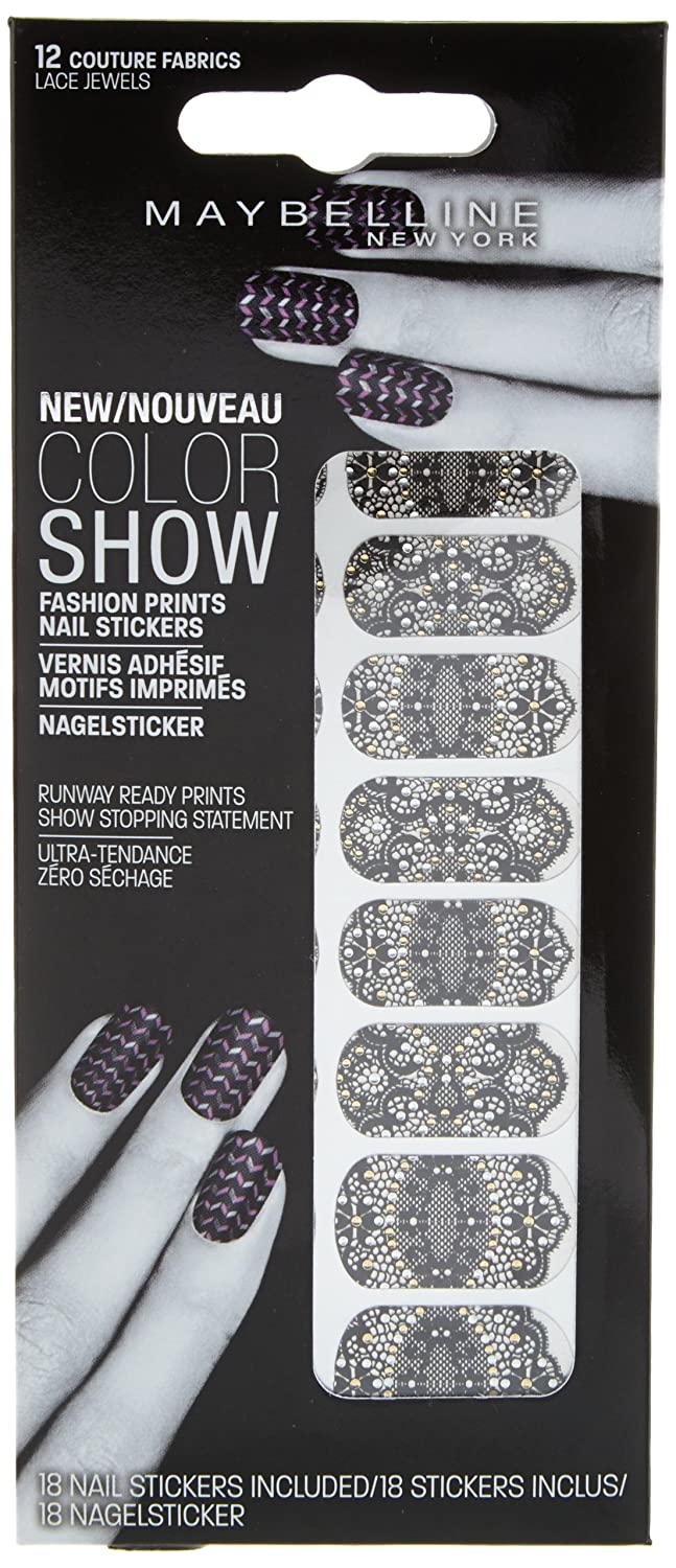 Maybelline Jade Color Show Nail Stickers with Lace Jewels Design ...