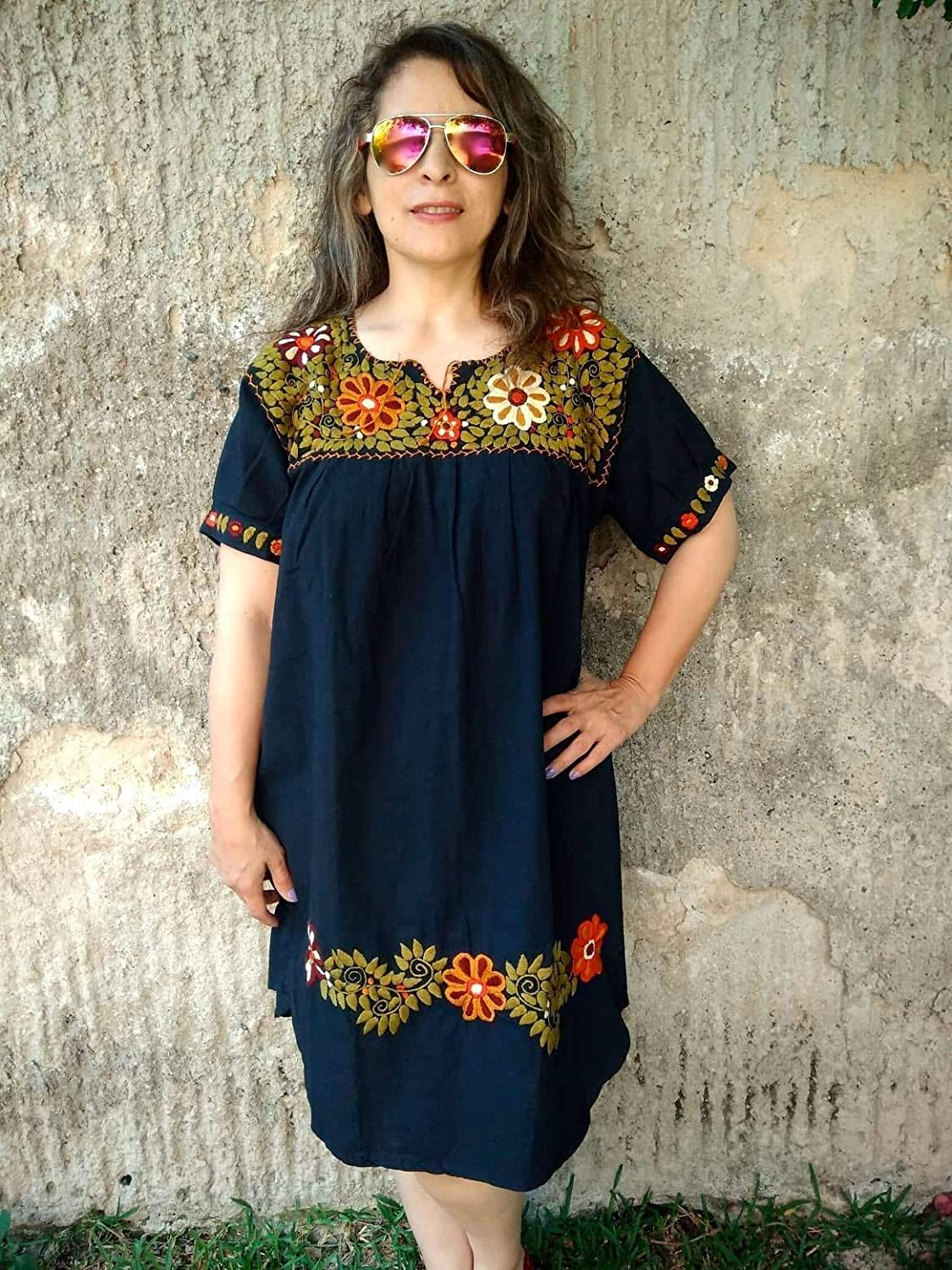 Black Mexican Embroidered Dress for Women, Hippie Floral Dress Plus Size