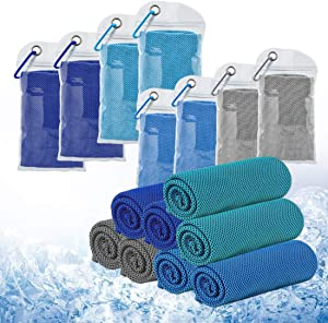 Cooling Towels Ice Towel Breathable Chilly Towels for All Exercises Sports Running Yoga Gym Workout Camping Goft Fitness Workout Indoor Outdoor (Multiple Color and Patterns - 8 towels total)