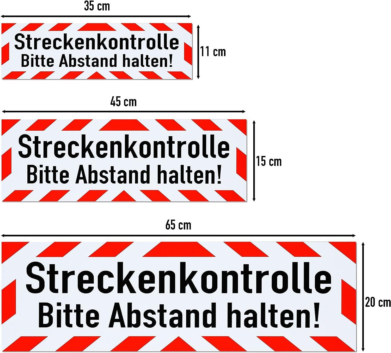 45 x 15 cm lieferbar in DREI Gr/ö/ßen Schild magnetisch LOHOFOL Magnetschild Streckenkontrolle Bitte Abstand halten!