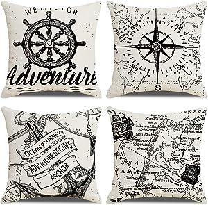 "7COLORROOM Set of 4 Nautical Decorative Pillow Covers Navigation Voyage Compass & Anchor Cushion Cover Beach/Ocean Style Home Decor Cotton Linen Pillowcases 18""×18"" (Black/White)"