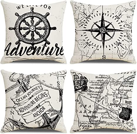 7colorroom Set Of 4 Nautical Decorative Pillow Covers Navigation Voyage Compass Anchor Cushion Cover Beach Ocean Style Home Decor Cotton Linen Pillowcases 18 18 Black White Home Kitchen