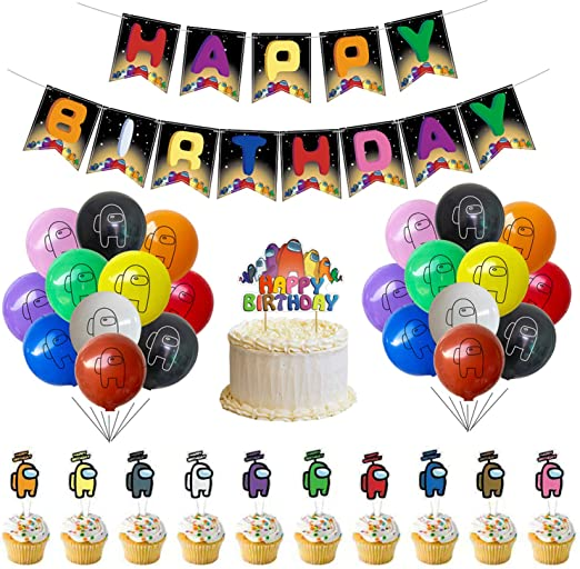 for Children Among Us Theme Birthday Party Favors Supplies Among Us Hanging Swirls Ceiling Streamers Decorations and Colourful Among Us Banner