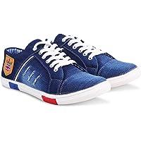 Zovim Men's Denim Jeans Sneakers Casual Shoes - Blue