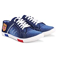 Zovim Men's Denim Jeans Sneakers Casual Shoes - Blue
