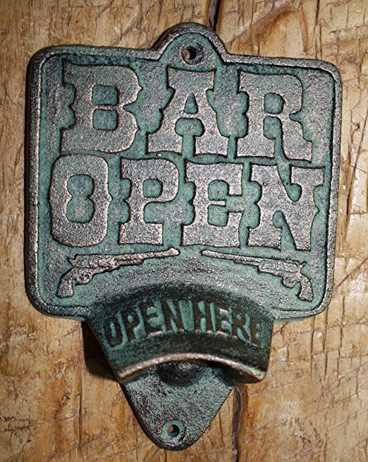 Beer O/' Clock Open Here Wall Mount Bottle Opener Rustic Cast Iron Bar Pub Decor