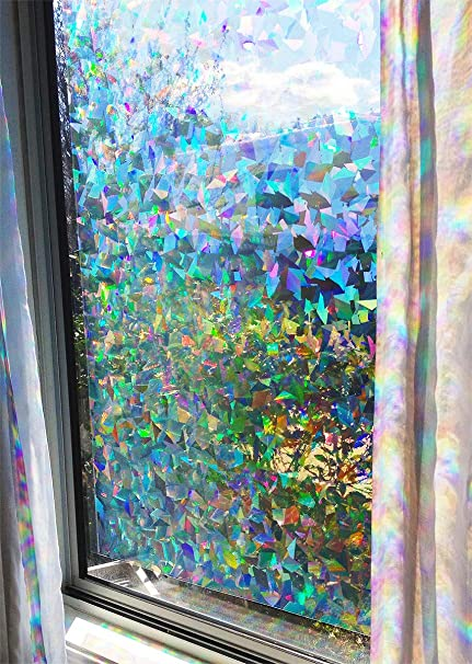 Amazon Com Decorative Rainbow Window Film Holographic Prismatic Etched Glass Effect Fill Your House With Rainbow Light 24 X 36 Panel Crystal Pattern Kitchen Dining