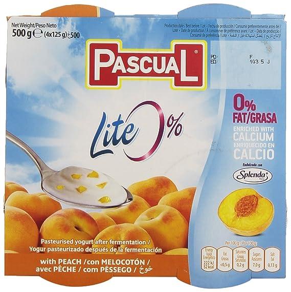 Pascual - Yogur Pascual Lite 0% Con Melocotón Y Enriquecido En Calcio 4 x 125