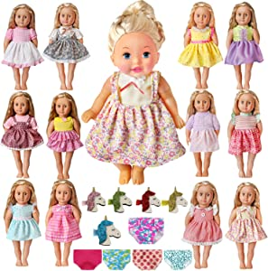 American Baby Bitty Girl Doll Clothes - 12 Style Bitty Alive Baby Doll Dress with 5 Random Doll Underwear and 5 Unicorn Hair Pins Fits 12 13 14 15 16 Inch Dolls - 12 Complete Sets of Doll Clothing