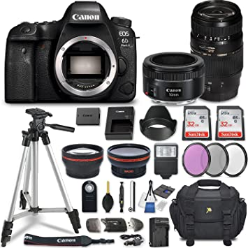 Canon EOS 6D Mark II DSLR Camera w/ 4 Lens Bundle including 2 2x Telephoto  & 0 43x Aux Wide Angle Lens + 2Pcs 32GB SD Memory + Accessories with