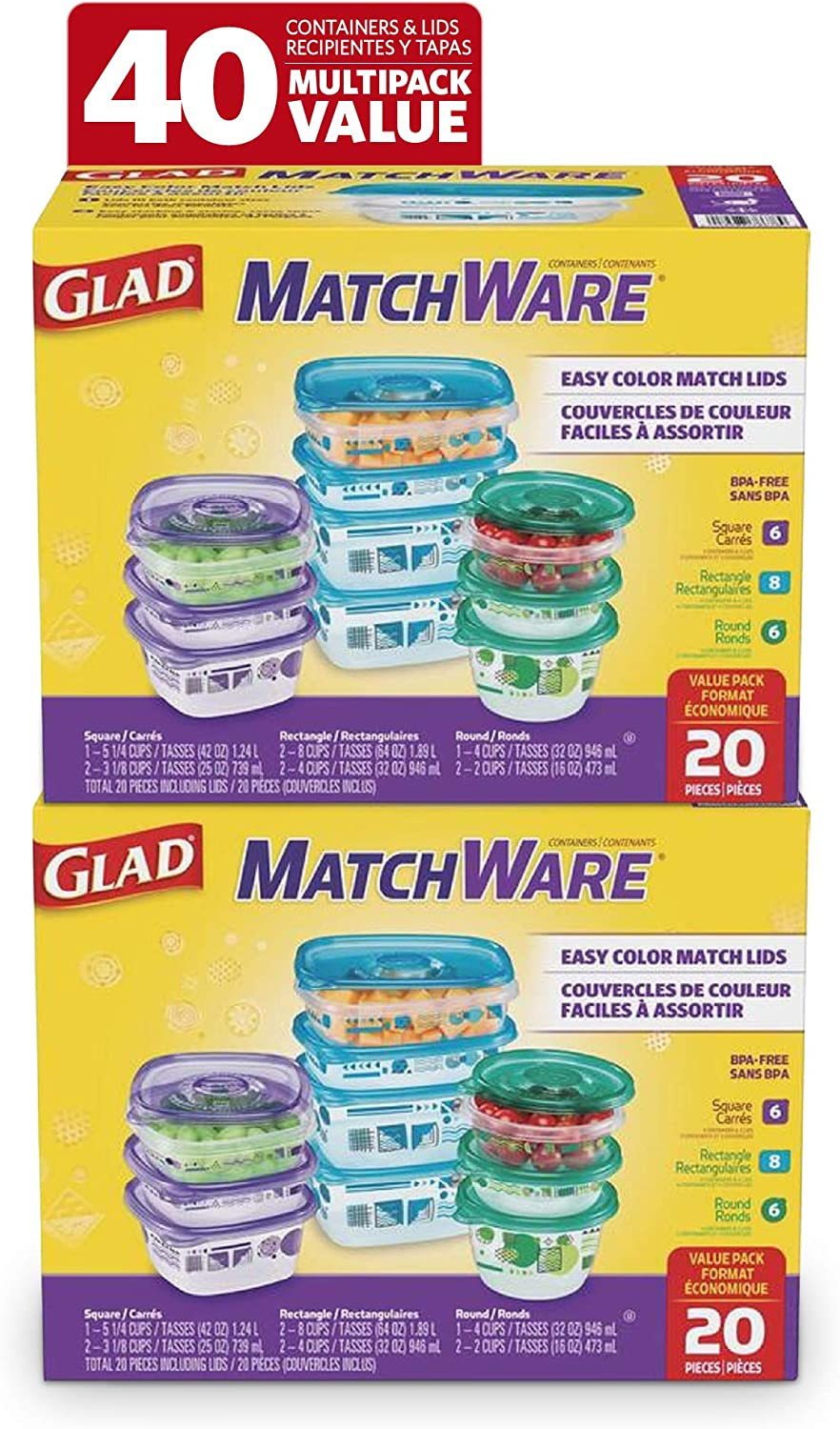 Glad Variety Pack Food Storage Containers, Value Pack-20, Clear, 6 Count