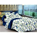 Ahmedabad Cotton Comfort 160 TC Cotton Bedsheet with 2 Pillow Covers - Floral, King Size, Blue