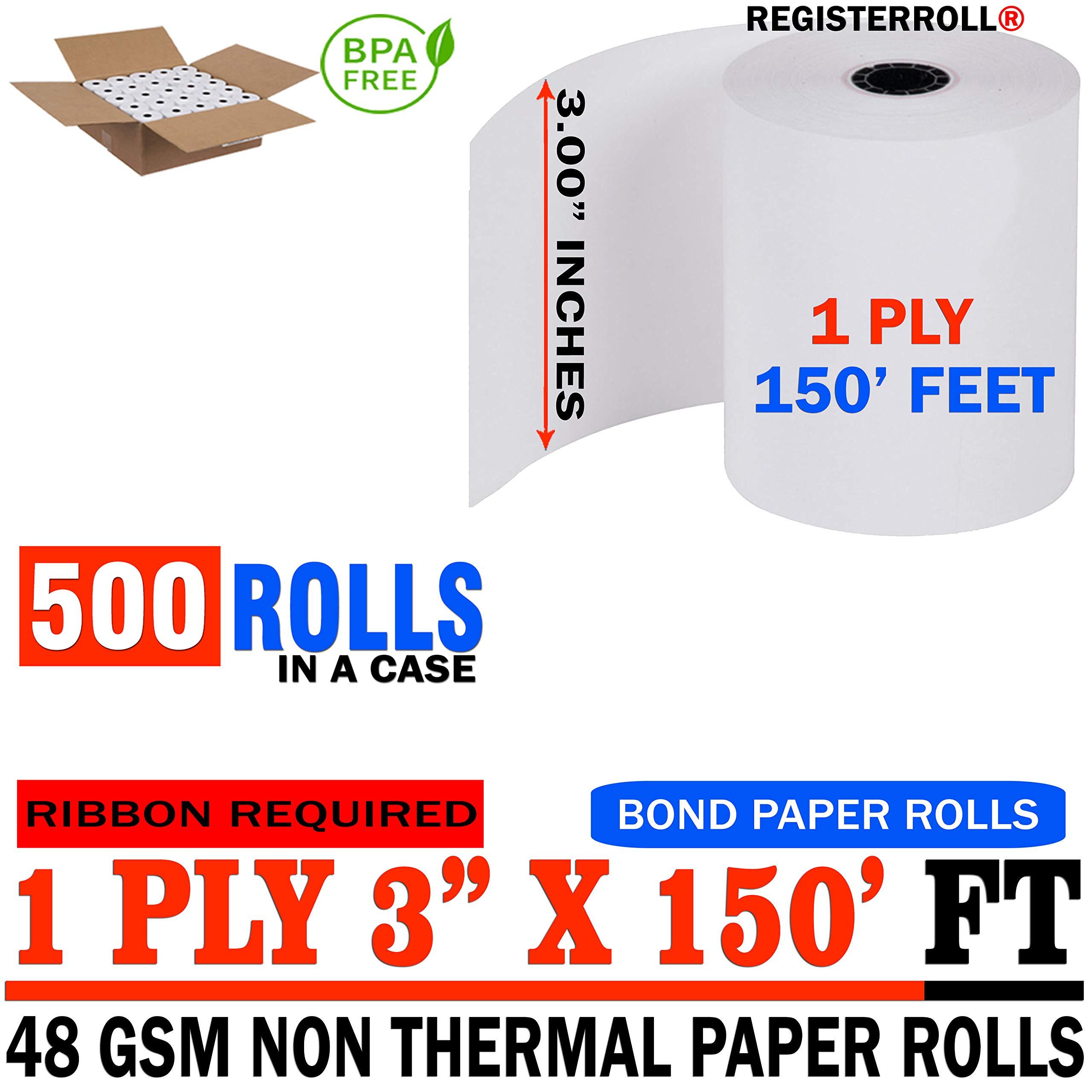 3'' x 150' 1-Ply Bond (500 Rolls), Works for Epson TM-U200B, Epson TM-U200D, Epson TM-U210, Epson TM-U220 - from RegisterRoll (500 Rolls) by RegisterRoll (Image #1)