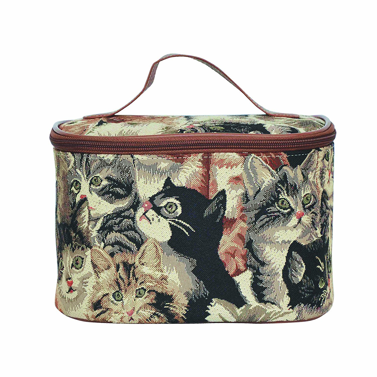 Cat Print Tapestry Tan Round Large Cosmetic Bag Travel Makeup Organizer Case with Handle Holder by Signare (TOIL-CAT)