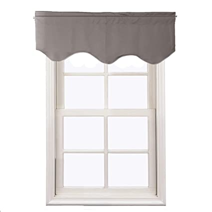 Aquazolax Window Scalloped Valances For Bedroom Thermal Insulated Solid  Blackout Curtains Scalloped Valances For Kitchen,