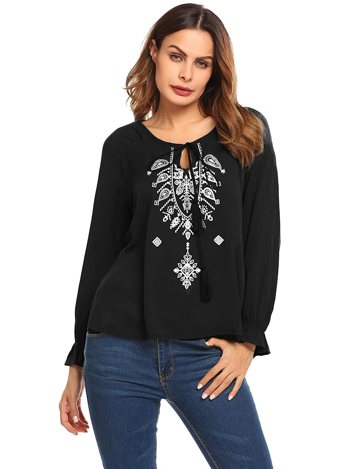 65db4ed923d9 Soteer Women s Boho Casual Blouse Lace Up Embroidered Loose Tie-neck Top  Shirt at Amazon Women s Clothing store
