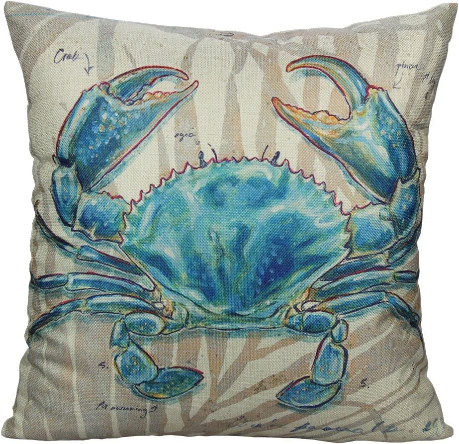 All Smiles Ocean Beach Outdoor Throw Pillow Covers Case Decorative Sea Coastal Theme Decor Cushion Square Pillowcase 18x18 Crab Decorations for Patio Couch Sofa,Marine Animals