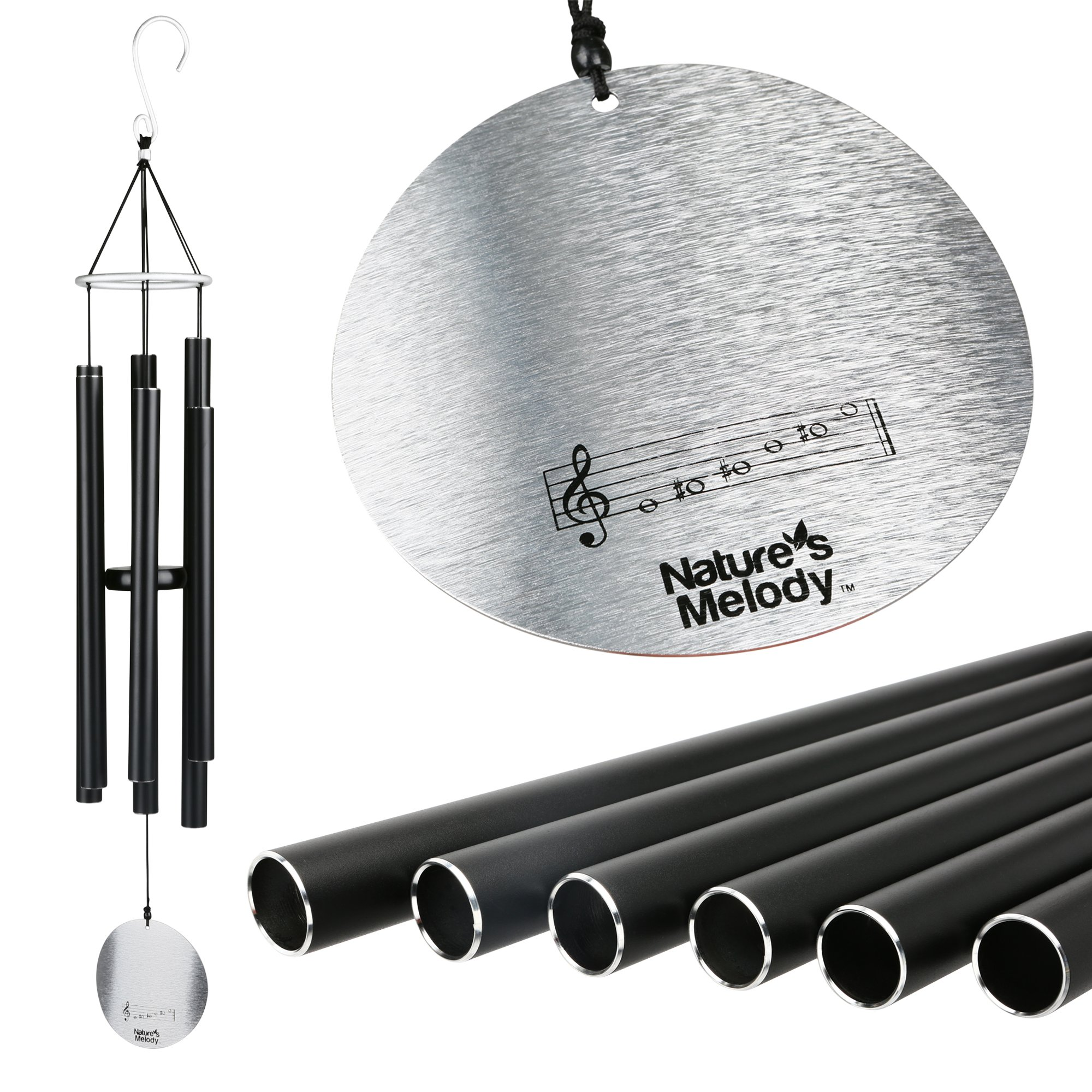 """Nature's Melody Wind Chimes for Outdoor, Tuned Metal Tubes, 36"""""""