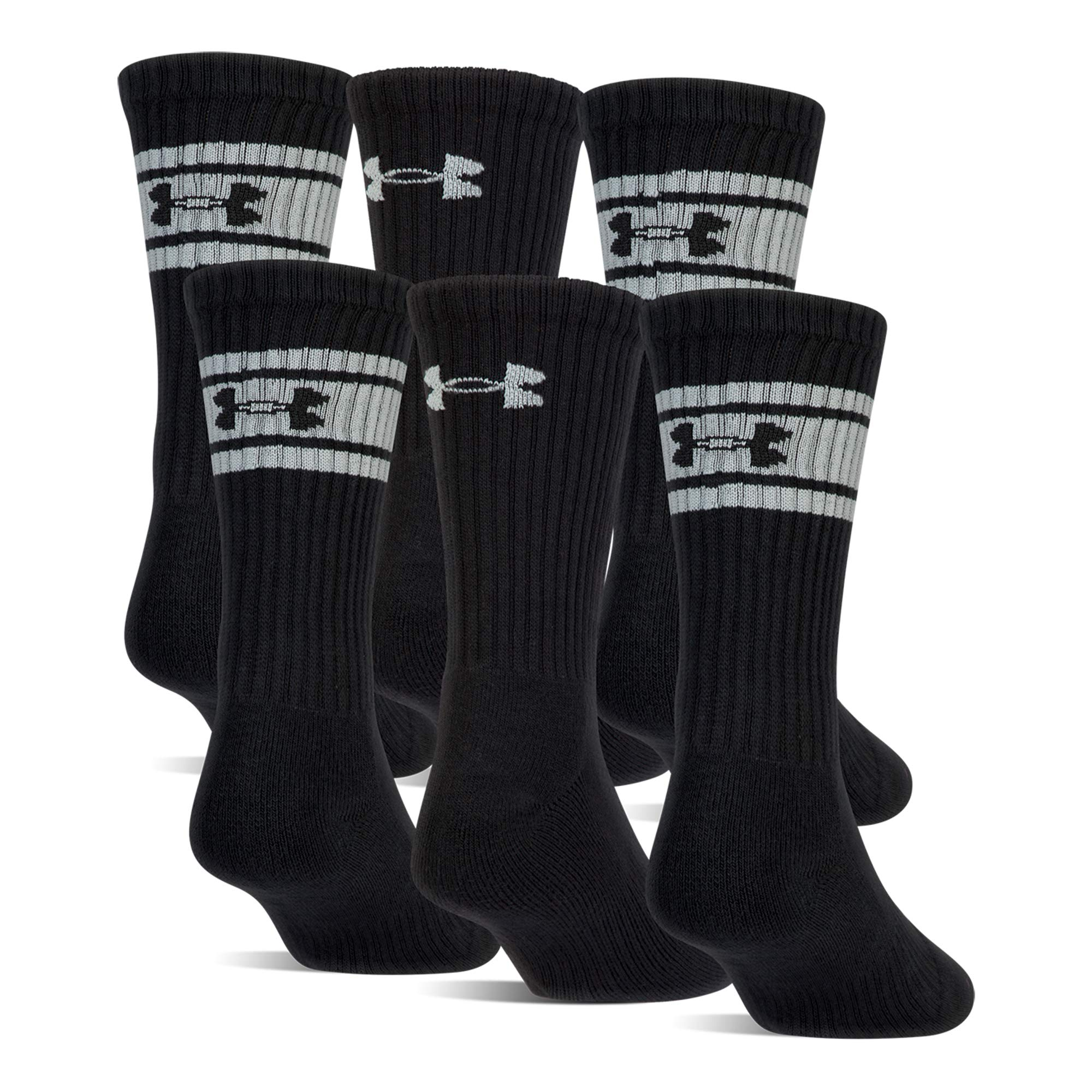 Under Armour Boys Au Youth Charged Cotton 2.0 Crew Socks (Pack 6), Black/White, Youth Large