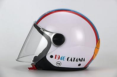 BHR 88877 Casco Demi-Jet Linea Junior 713, Catania Fútbol Niño Blanco, talla YS, blanco, talla YS: Amazon.es: Coche y moto