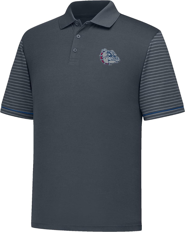 X-Large Charcoal//Navy J America NCAA Gonzaga Bulldogs Mens Linebacker Ii YB Dyed Color Bock Polo Shirt