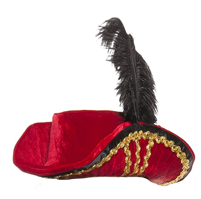 Women's Midnight Red Velvet Pirate Hat Accented with Gold Braid and Black Ribbon Trim and a Black Feather by Starline