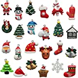 PTFNY 24 Pieces Christmas Pendant Charms Xmas DIY Ornament Santa Claus Snowman Elk Christmas Tree Resin Pendant for Christmas