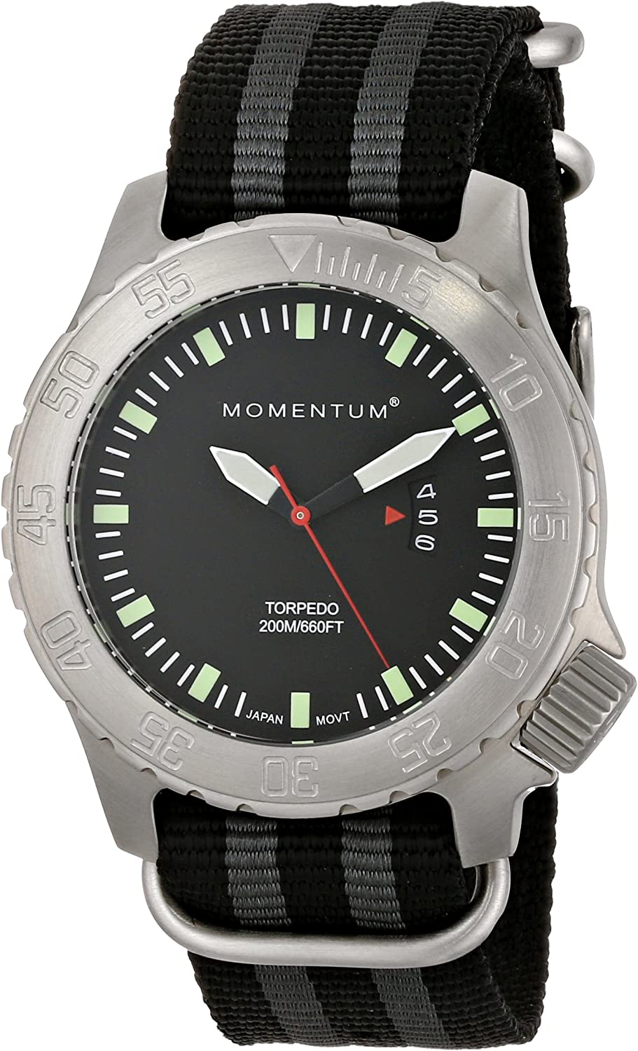 Men s Sports Watch Torpedo Dive Watch by Momentum Stainless Steel Watches for Men Analog Watch with Japanese Movement Water Resistant 200M 660FT Classic Watch – Black 1M-DV74B7S