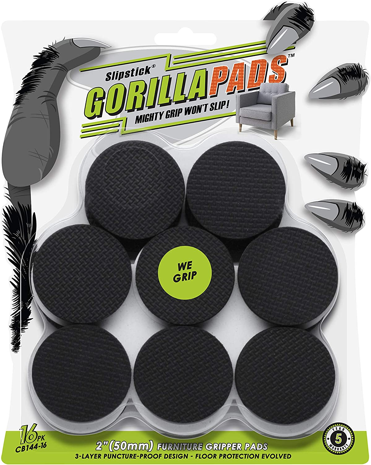 GorillaPads Non Slip Furniture Pads/Floor Grippers (Set of 16 Grips) 2 Inch Round Floor Protectors for Under Furniture, Black, CB144-16