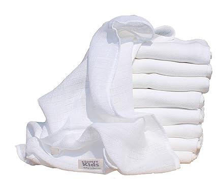 Inteligente Kids pañales de tela Mull paños Blanco 9 unidades de 70 x 80 cm