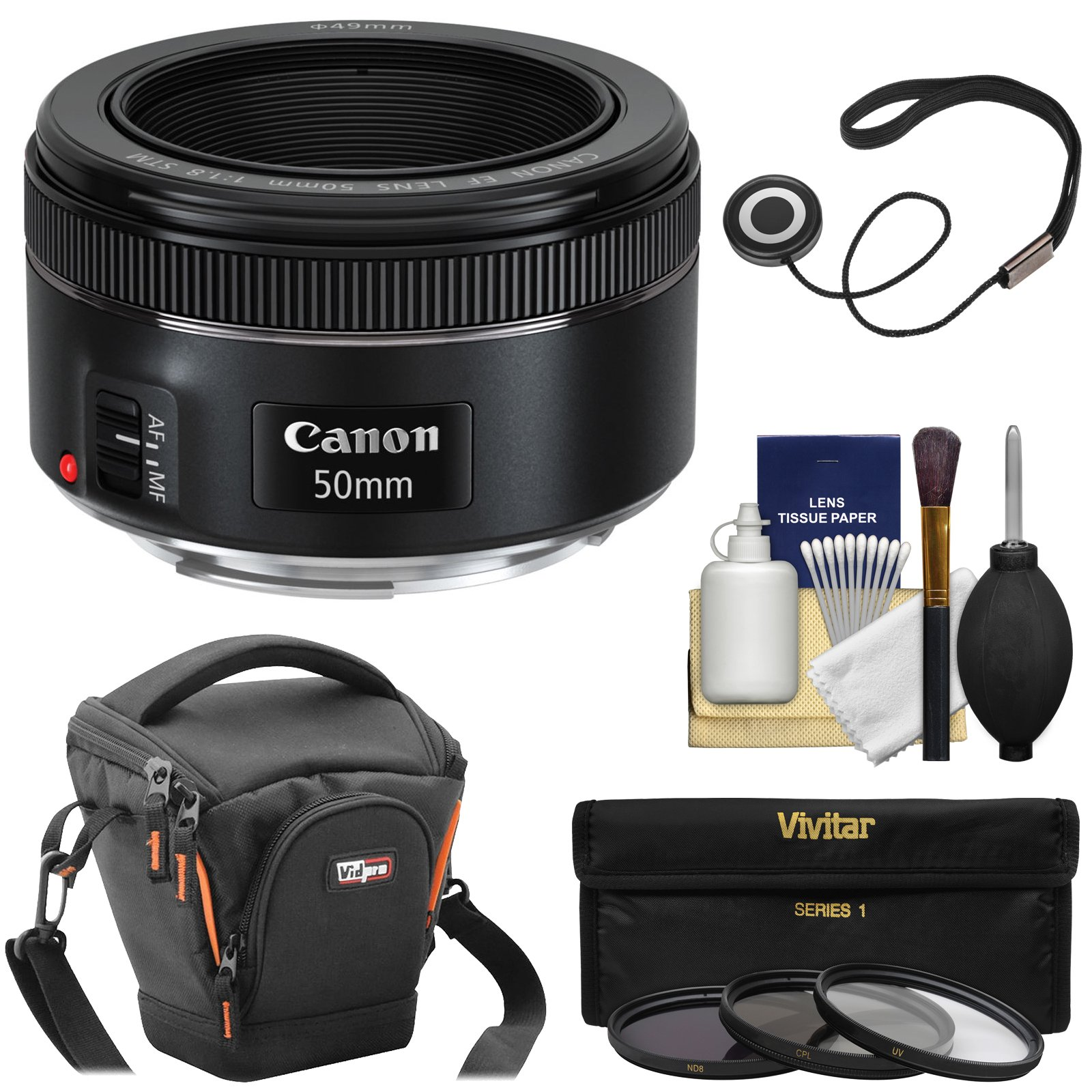 Canon EF 50mm f/1.8 STM Lens with Case + 3 UV/CPL/ND8 Filters + Kit for EOS Digital SLR Cameras by Canon