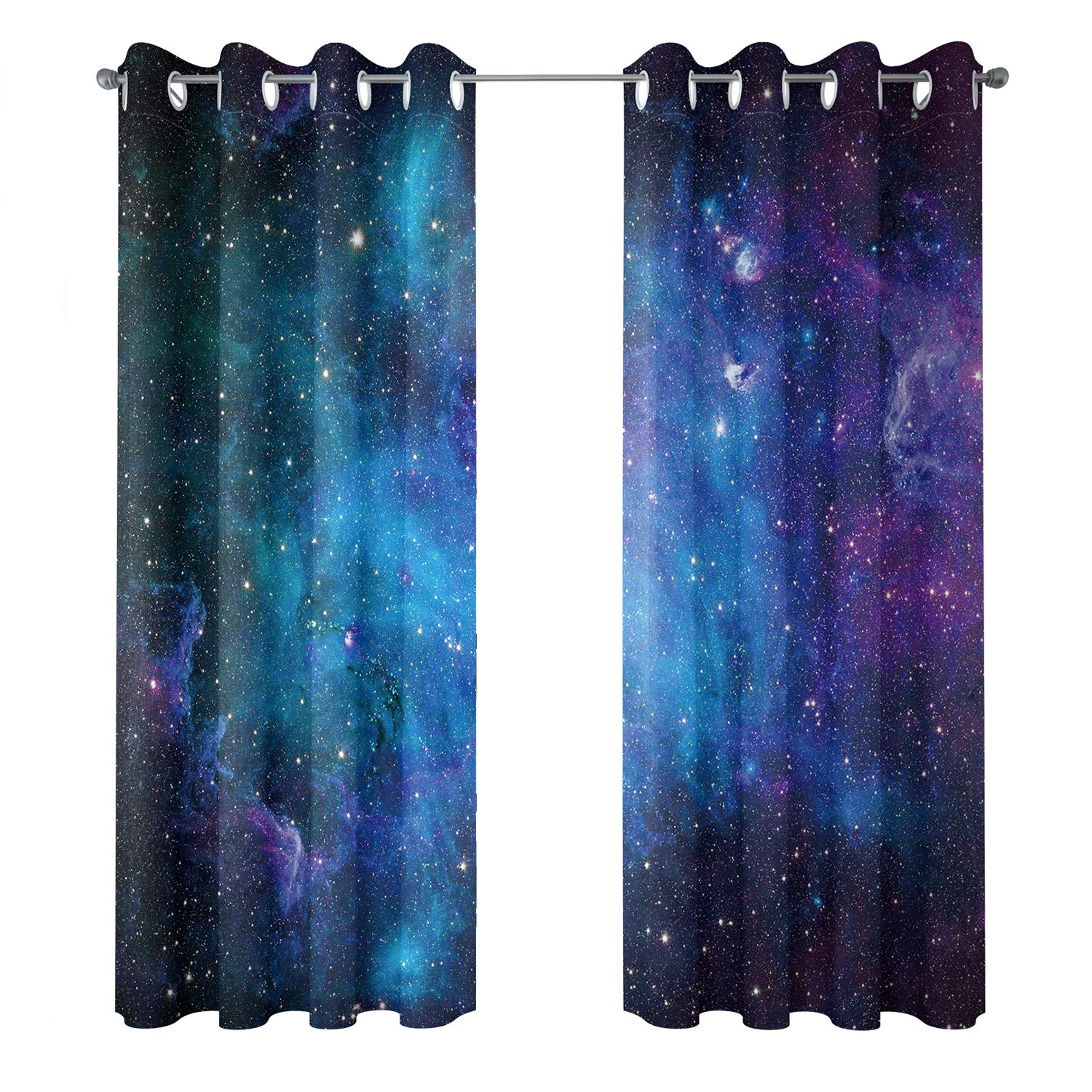 Riyidecor Starry Sky Night Blackout Curtains Dark Blue Starry Ocean Magical Universe Galaxy Nebula Stars Printed Living Room Bedroom Window Drapes Treatment Fabric (2 Panels 52 x 84 Inch)
