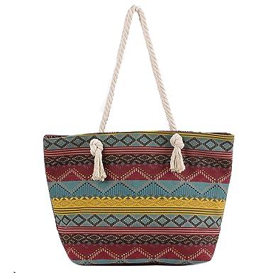 Sac de Plage Vacances Fourre-Tout Grand Avec Zip, ZWOOS Pochette sac à Main Sac de Shopping Pour Femme et Filles (Étoile de mer)