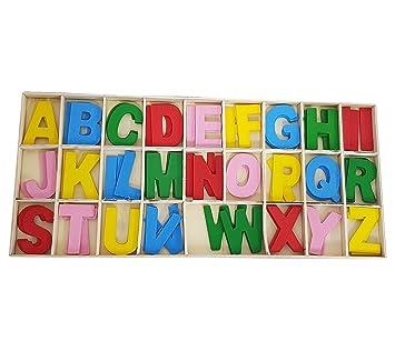 takestop® Caja con 78 Letras mayúscula de Colores de Madera Juego decoupage Escuela de enseñanza Decoraciones de Colores