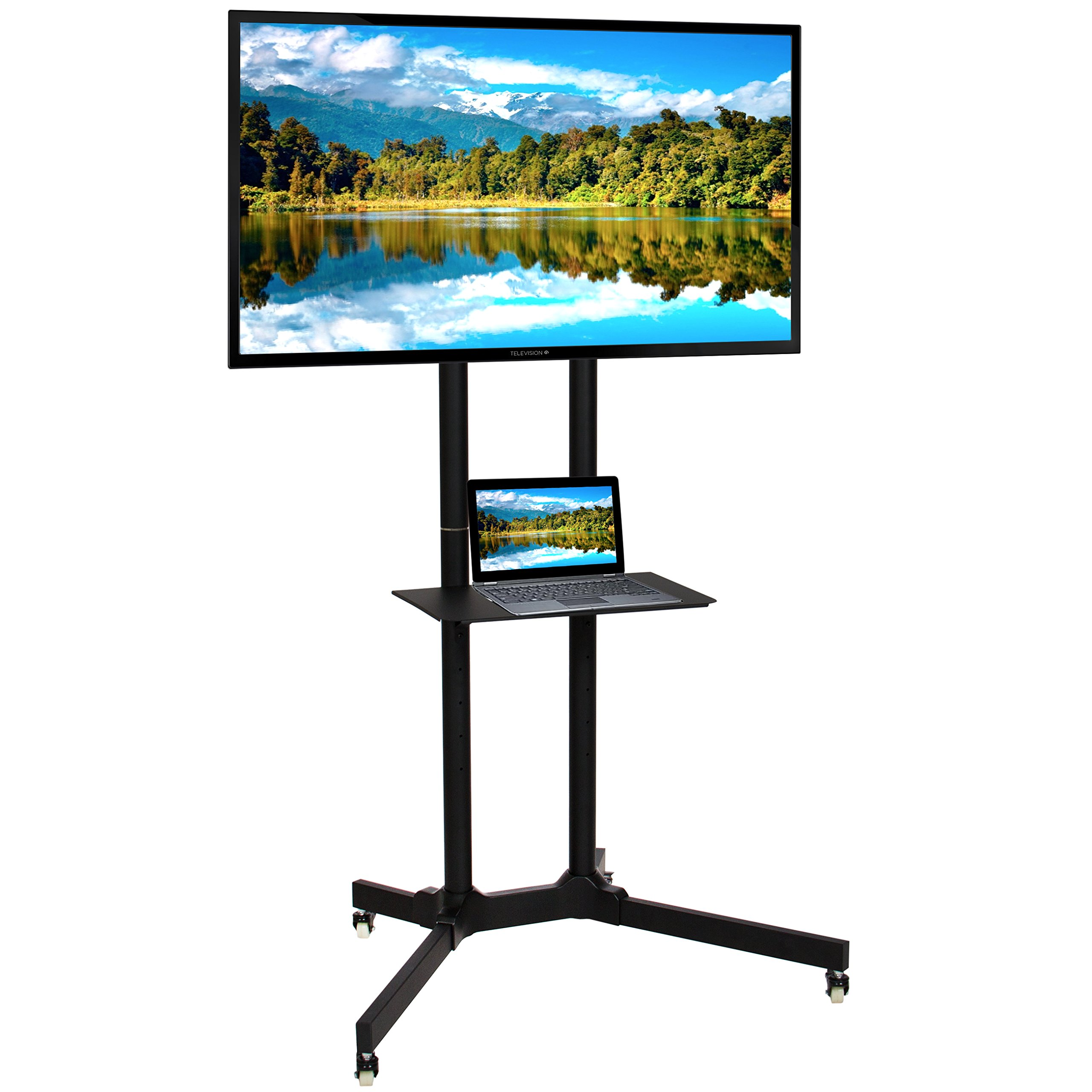 Best Choice Products Flat Panel Steel TV Stand Mobile TV Cart W/Lockable Wheels, 32''-65'' Screen LCD LED Plasma