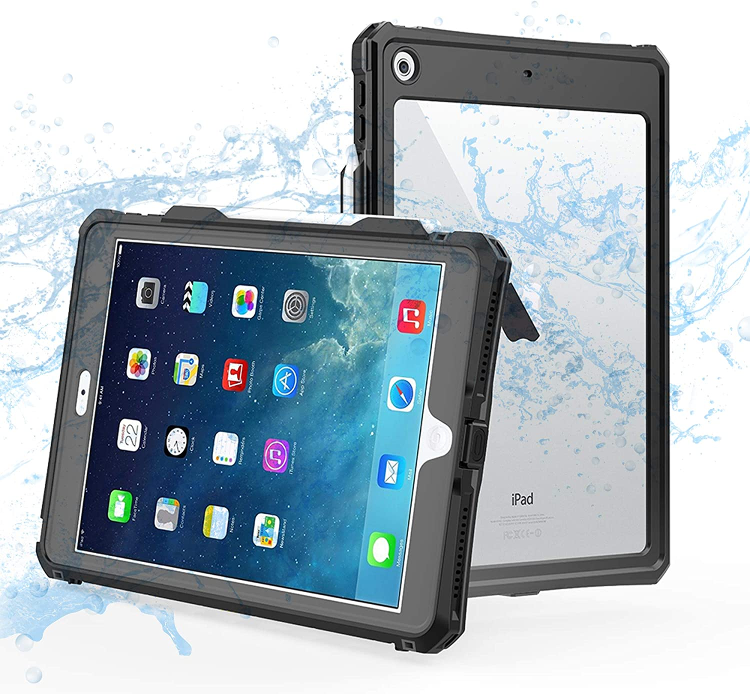 ShellBox Case iPad 8th / 7th Generation Waterproof Case, Full-Body Heavy Duty Shockproof Protective Cover Built-in Screen Protector Pencil Holder Shoulder Strap for iPad 10.2 2020/2019 (Black)
