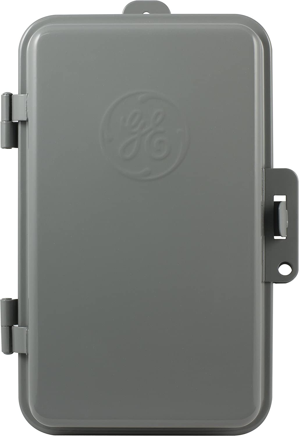 GE 24-Hour Indoor/Outdoor Mechanical Time Switch, 40 Amp 240 VAC 5HP Box Timer, Double Pole Single Throw, NEMA 3-Rated Metal Tamper Resistant Enclosure, for Fans, Pumps, Air, and Heating, 15164, Beige