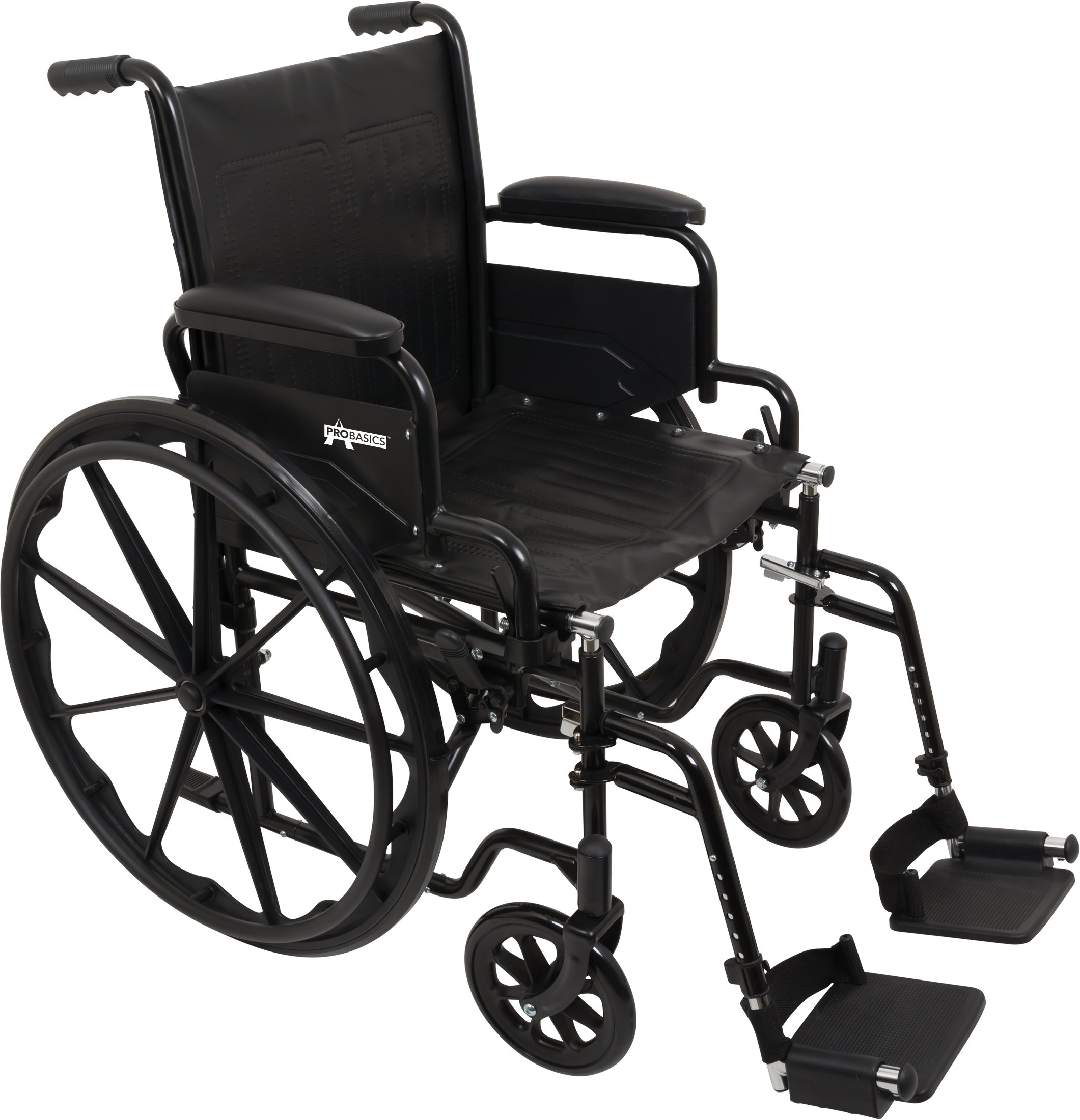 ProBasics Standard Wheelchair - Flip Back Desk Arms - 250 Pound Weight Capacity - Black - Swing-Away Footrest - 16'' x 16'' Seat by Roscoe Medical