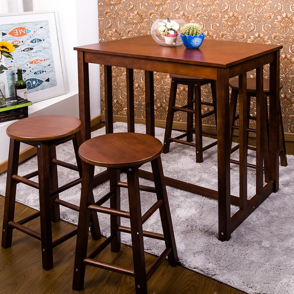 Walnut Kitchen Table: Walnut Dining Table Set High Top Counter Height Stools