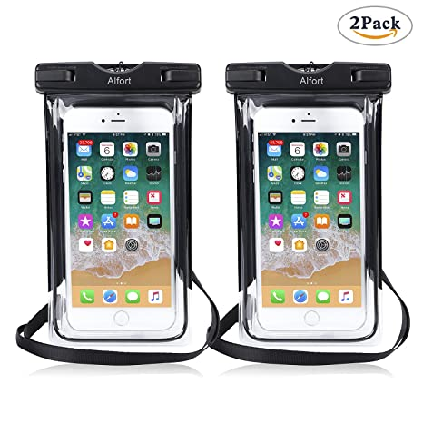 Alfort 2 x Cáscara Impermeable, Funda Bolsa Impermeable para iPhone/Samsung/Huawei Aislamiento al Polvo Aceite Sumergible para 6.0 Pulgadas o Menos ...