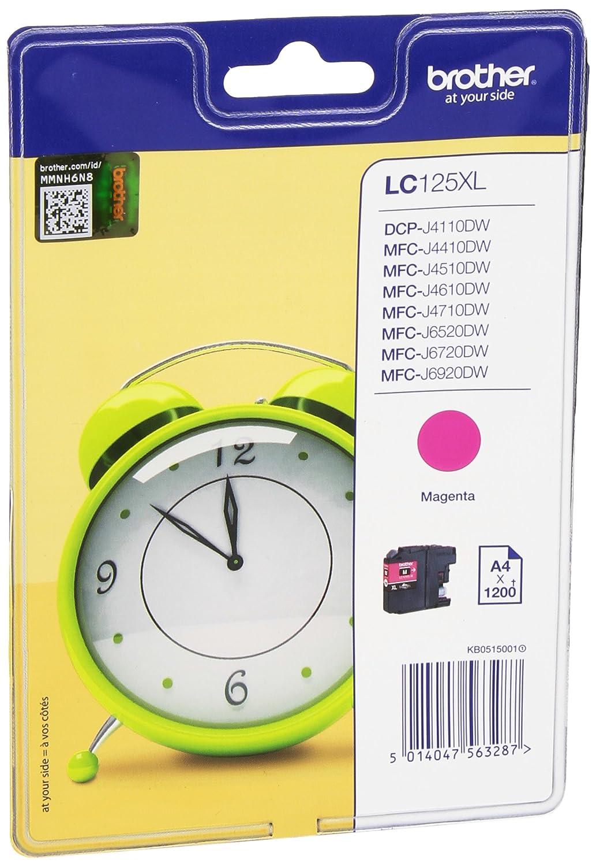 Brother LC125XLYBP - Cartucho de tinta amarillo de larga duración para los equipos DCPJ4110DW, MFCJ4410CDW, MFCJ4510CDW, MFCJ4710CDW, MFCJ6520DW, ...