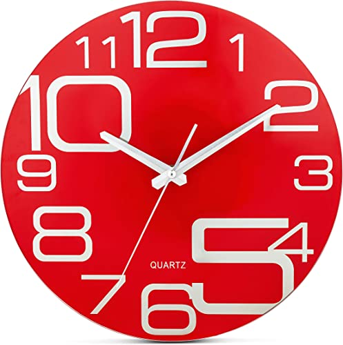Bernhard Products Red Glass Wall Clock 12 Inch Decorative Silent Non Ticking Quality Quartz Battery Operated Round Large Unique Modern Design