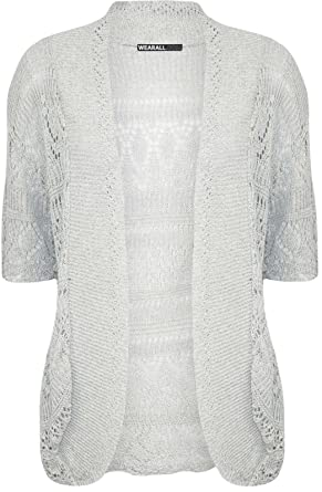 7d6650063e Ladies Womens Plus Size Crochet Knitted Short Sleeve Ladies Open Cardigan  Top Sizes 8-28