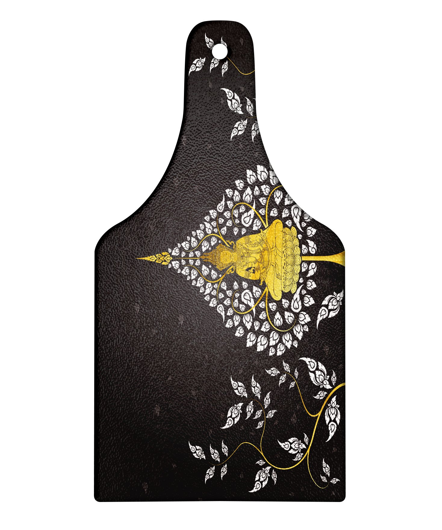 Lunarable Asian Cutting Board, Ancient Religious Thai Character with Floral Elements Meditation, Decorative Tempered Glass Cutting and Serving Board, Wine Bottle Shape, Charcoal Grey White Yellow by Lunarable