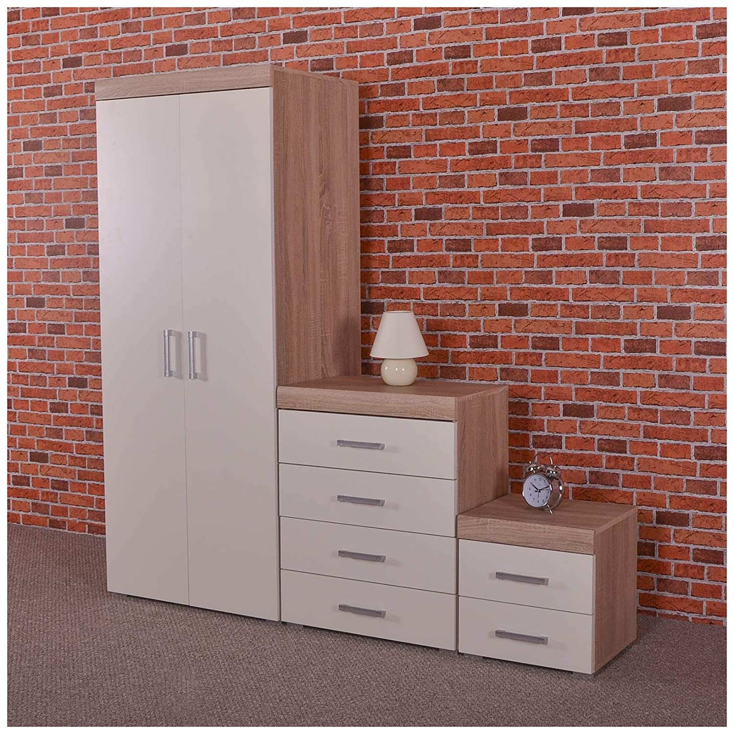 DRP Trading Bedroom Furniture Set *White & Sonoma Oak* Wardrobe, 4 Drawer Chest & 2 Draw Bedside Cabinet