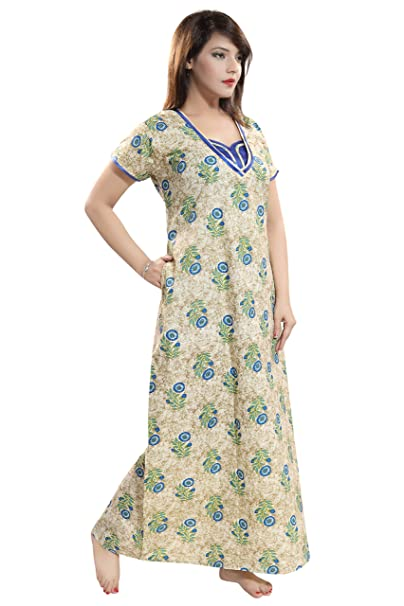 2ef4bbe492 LIFE-TALE™ Premium Cotton Nighty Night Gown Nightwear (Size  L Bust 44)   Amazon.in  Clothing   Accessories